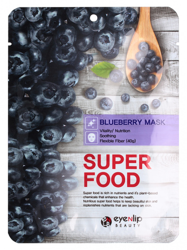 eyenlip super food маска для лица тканевая super food blueberry mask  23мл