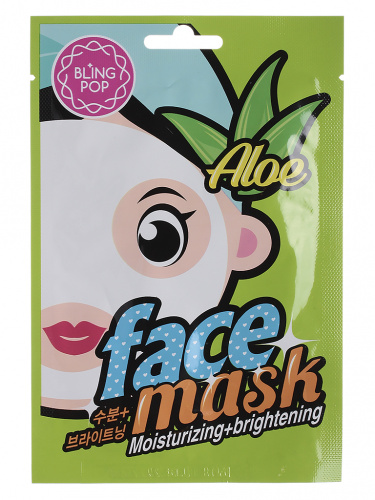 bling pop маска для лица тканевая aloe moisturizing & brightening mask 20мл