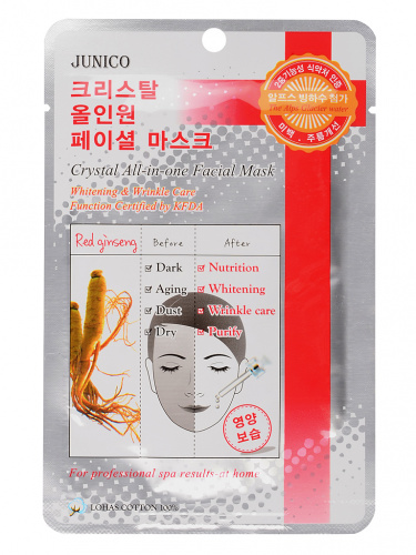 mijin junico crystal маска тканевая c красным женьшенем junico crystal all-in-one facial mask red ginseng 25гр